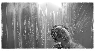 Phyco Girl In Shower Art Print
