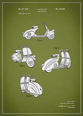 Photograph - Piaggio Motor Scooter Patent 1949 by Mark Rogan