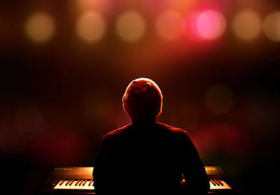Pianist On Stage From Behind Print by Johan Swanepoel