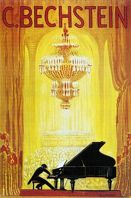 Royalty-Free and Rights-Managed Images - Pianist playing to a Packed Theatre - C. Bechstein - German Piano Manufacturer - Vintage Poster by Studio Grafiikka