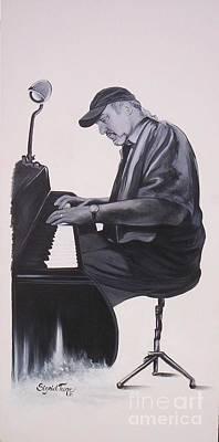 Painting - Blaa Kattproduksjoner              Pianist Theo Saunders by Sigrid Tune