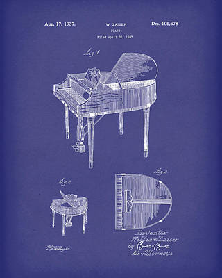 Drawing - Piano 1937 Patent Art Blue by Prior Art Design