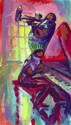 Piano And Trumpet Art Print by Saundra Bolen Samuel