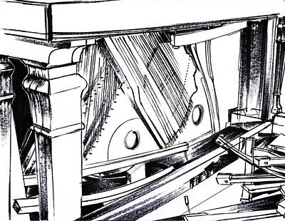 Mindful Drawing - Piano Drawing 9 by Chad Glass
