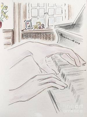 Musicians Drawings - Piano Hands by Barbara Chase