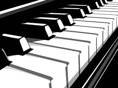 Piano Keys Digital Art - Piano Keyboard No2 by Michael Tompsett