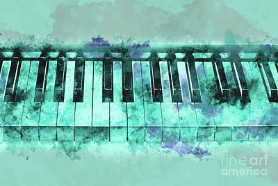 Musician Photos - Piano keyboard watercolor by Delphimages Photo Creations