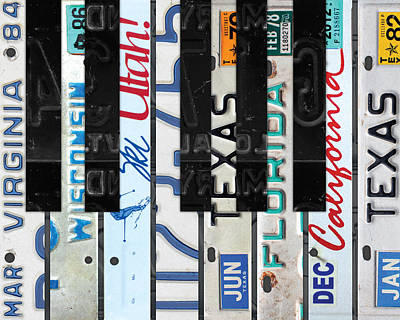 Piano Keys Black And White Recycled Vintage License Plate Art Print by Design Turnpike