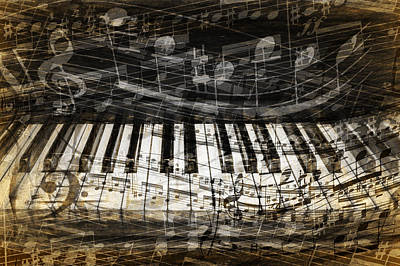 Photograph - Piano Keys With With Musical Notes by Randall Nyhof