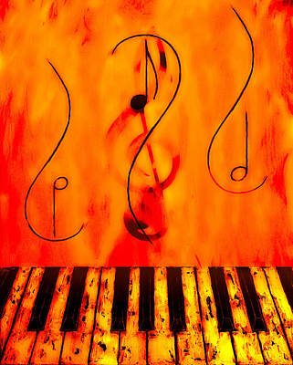 Water Play Mixed Media - Piano Play by Wayne Cantrell