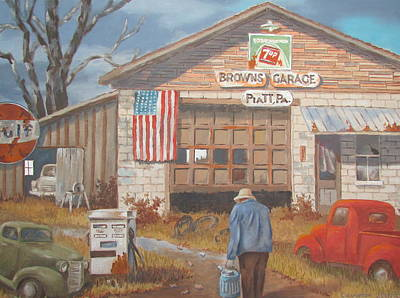 Painting - Piatt Pa. Garage by Tony Caviston