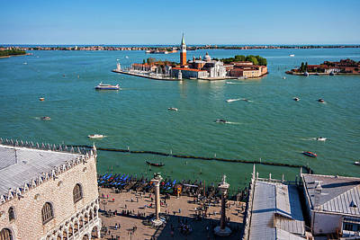 Photograph - Piazetta San Marco And San Giorgio Maggiore From Above - Venice by Barry O Carroll