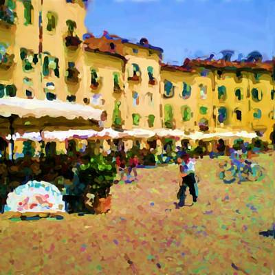 Lonvig Digital Art - Piazza Amphiteatro Lucca Tuscany by Ozborne-Whilliamsson