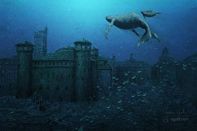 Cetacean Digital Art - Piazza Castello Con Balene by Andrea Gatti
