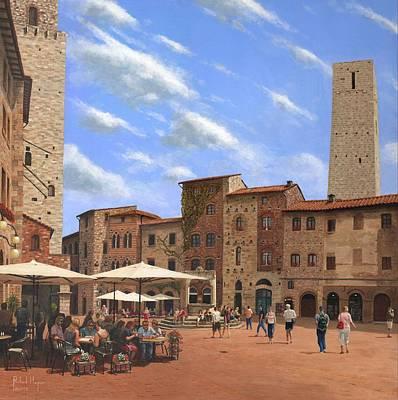San Gimignano Painting - Piazza Della Cisterna San Gimignano Tuscany by Richard Harpum