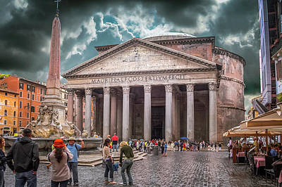 Photograph - Piazza Della Rotonda Pantheon Rome Italy by Alex Saunders