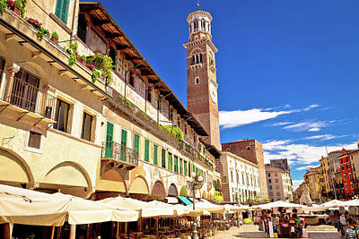 Photograph - Piazza Delle Erbe In Verona Street And Market View With Lamberti by Brch Photography