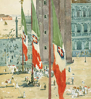 Italian Flag Painting - Piazza Di San Marco by Maurice Brazil Prendergast