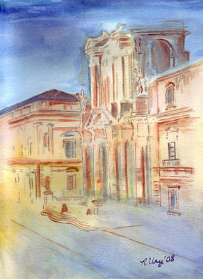 Medieval Temple Painting - Piazza Duomo by Rene Ury