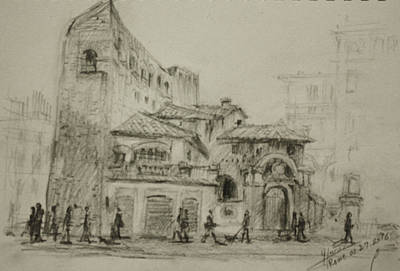 Rome Drawing - Piazza Fiume Rome by Ylli Haruni