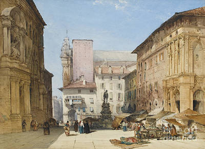 Bologna Painting - Piazza Maggiore by Celestial Images