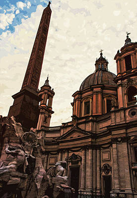 Painting - Piazza Navona At Sunset, Rome by Andrea Mazzocchetti