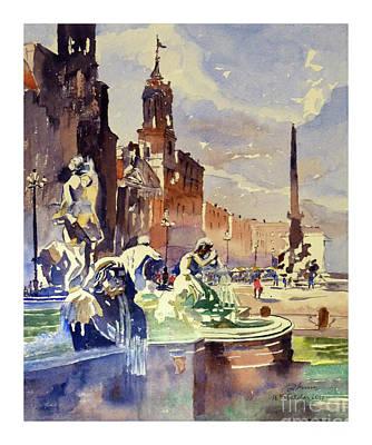 Painting - Piazza Navona by Godwin Cassar