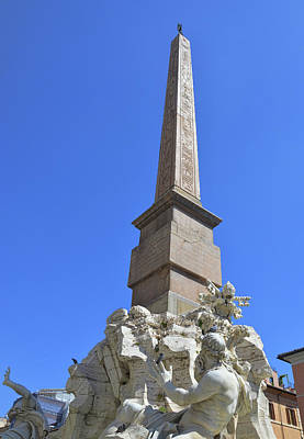 Photograph - Navona Fountain Obelisk  by JAMART Photography