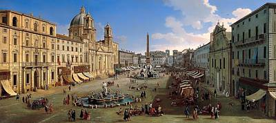 Antique Italian Oil Painting - Piazza Novona - Rome by Mountain Dreams