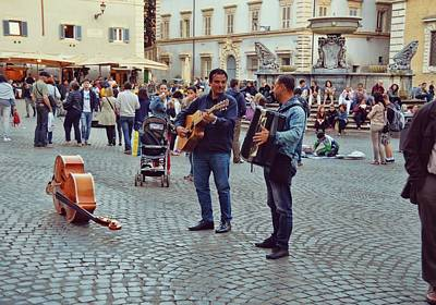 Photograph - Piazza Performers by JAMART Photography