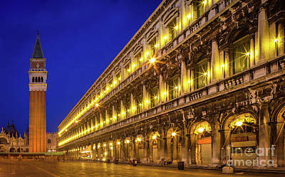 Piazza San Marco By Night Art Print by Inge Johnsson