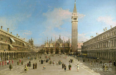 Bell Tower Painting - Piazza San Marco Looking Towards The Basilica Di San Marco  by Canaletto