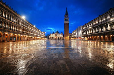 Photograph - Piazza San Marco Night by Songquan Deng