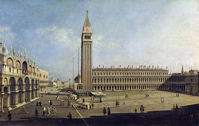 Library Painting - Piazza San Marco Venice  by Canaletto