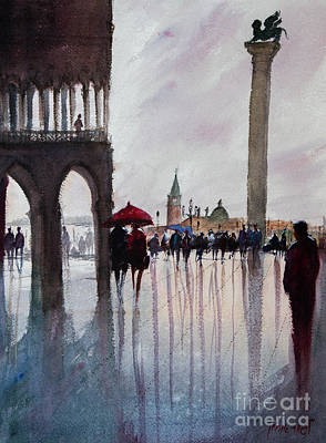 Painting - Under One Umbrella, Couple In Piazza San Marco Vinezia by Lior Ohayon
