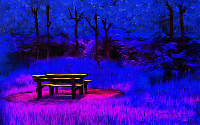 Pic Nic Digital Art - Pic-nic Blue - Da by Leonardo Digenio
