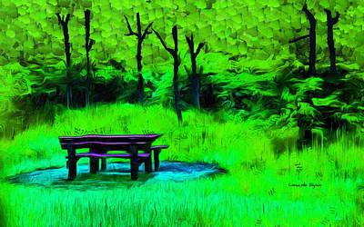 Chairs Painting - Pic-nic Green - Pa by Leonardo Digenio