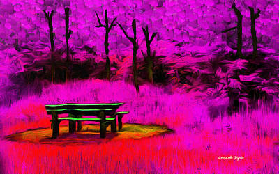 Seat Digital Art - Pic-nic Violet - Da by Leonardo Digenio