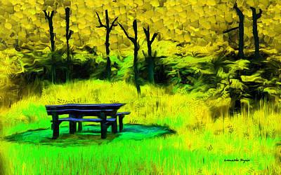 Knife Painting - Pic-nic Yellow - Pa by Leonardo Digenio
