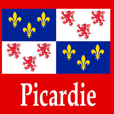 Politics Digital Art - Picardie, France Flag And Name by Frederick Holiday