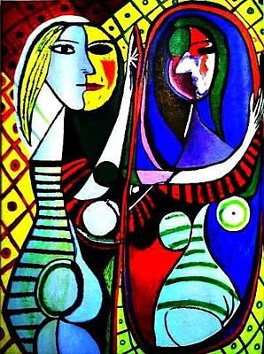 Painting - Picasso - El Espejo Original by Sandra Lira