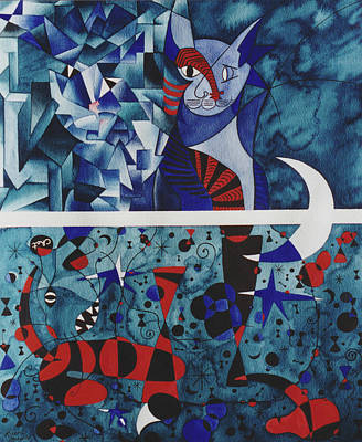 Funny Cat Painting - Picasso And Miro's Cats by Eve Riser Roberts