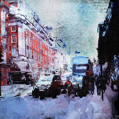 Digital Art - Piccadilly. Afternoon Rush by Nicky Jameson