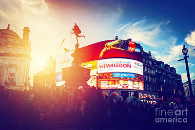 Wimbledon Photograph - Piccadilly Circus Neon Ads Glow At Sunset, Young Night. London, Uk by Michal Bednarek