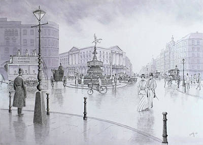 Rain Drawing - Piccadilly Circus_after The Rain by David Godbolt