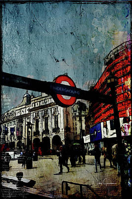 Digital Art - Piccadilly Underground Grunge by Nicky Jameson