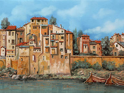 Paintings - Piccole Case Sul Fiume by Guido Borelli