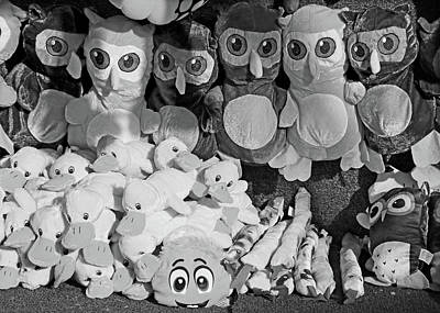 Photograph - Pick A Pet At The Carnival Bw by Mary Bedy