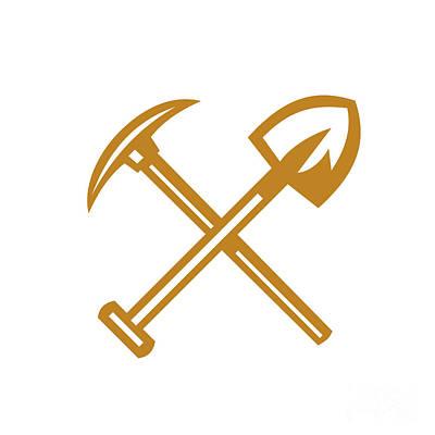 Pick Axe Digital Art - Pick Axe Shovel Crossed Retro by Aloysius Patrimonio