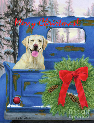 Dog In Snow Painting - Pick-en Up The Christmas Tree- Merry Christmas Cards by Sarah Batalka